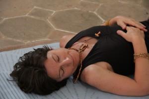 Banu at peace on her mat