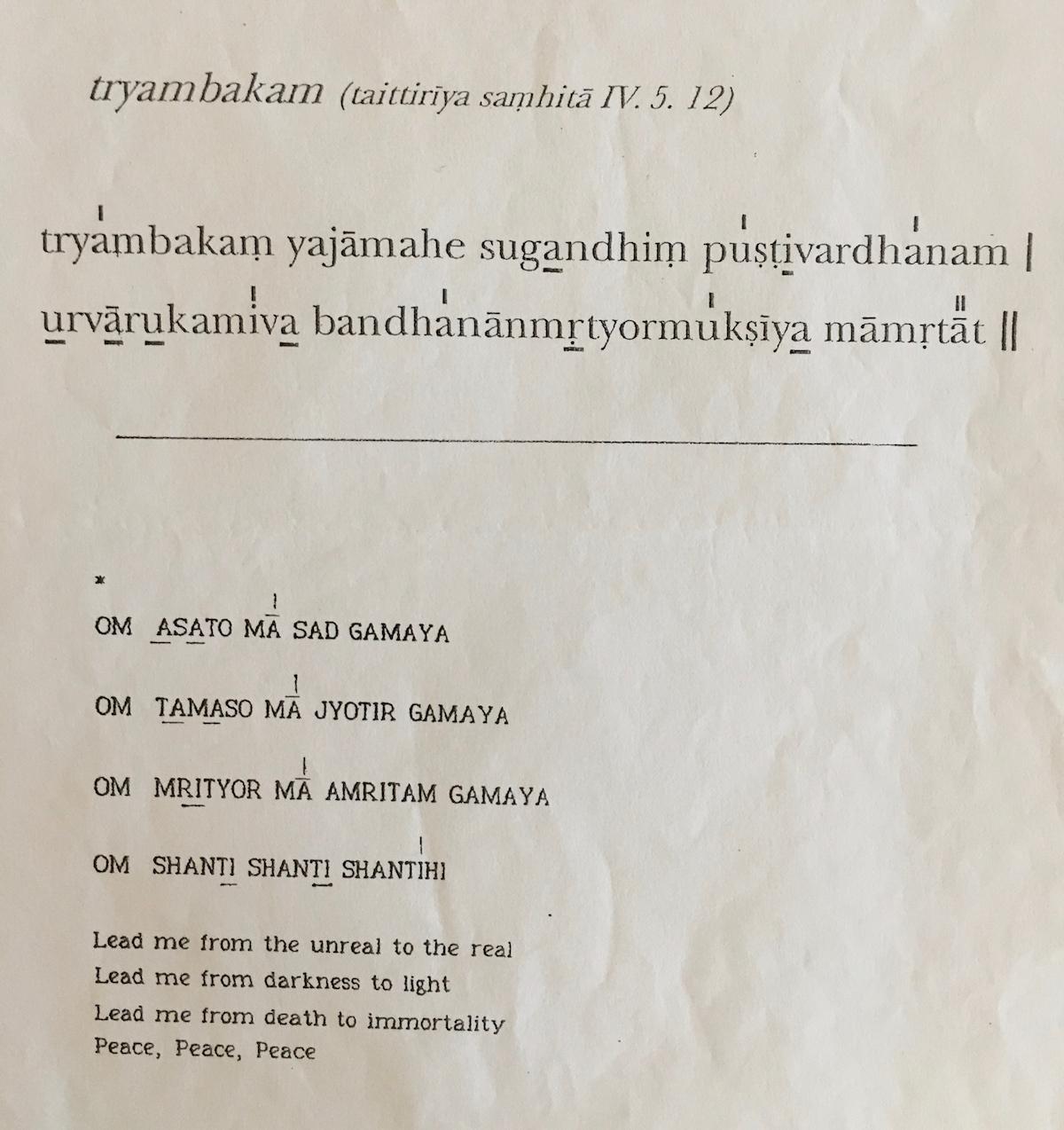 Tryambakum, Asato Ma Chants